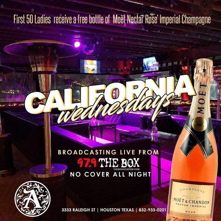 CALIFORNIA WEDNESDAYS @theaddresshtx  first 50 ladies Free MOËT happy hour 4pm-9pm Great Vibes & Music | 3333 Raleigh St| #houston#texas#happyhour#drinks#wednesday#mood#california#lasvegas#food#fun#bartender#waitress#vibes#dj#music#specials#atlanta#city#hot