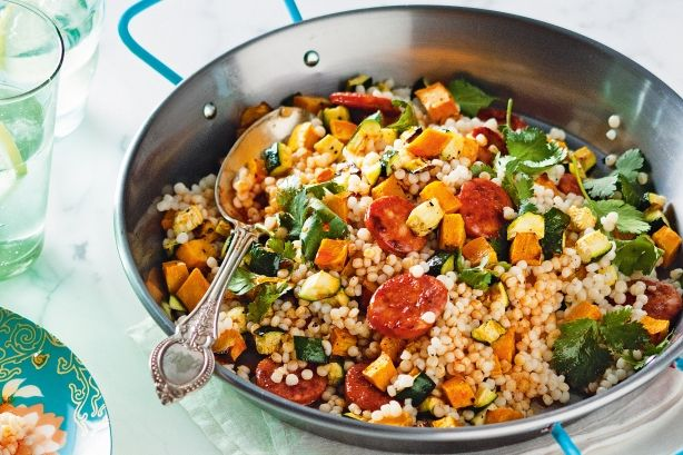 Pearl couscous with roasted pumpkin and chorizo (subbed in sweet potatoe)