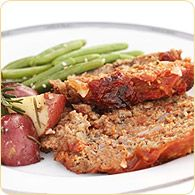 "The Original Lea & Perrins® Meatloaf Recipe~1/3C Lea & Perrins Worcestershire Sauce-2lbs ground beef-2 eggs-1C plain breadcrumbs-1/3C onion, finely chopped-1/4C Heinz Ketchup= 1. Preheat oven to 350°F. 2. In a large bowl, combine all ingredients. In 13""x9"" baking or roasting pan, shape into a loaf. Sprinkle top with additional Lea & Perrins® Worcestershire Sauce. 3. Bake uncovered 1 hour or until done. Let stand 10 minutes before serving."