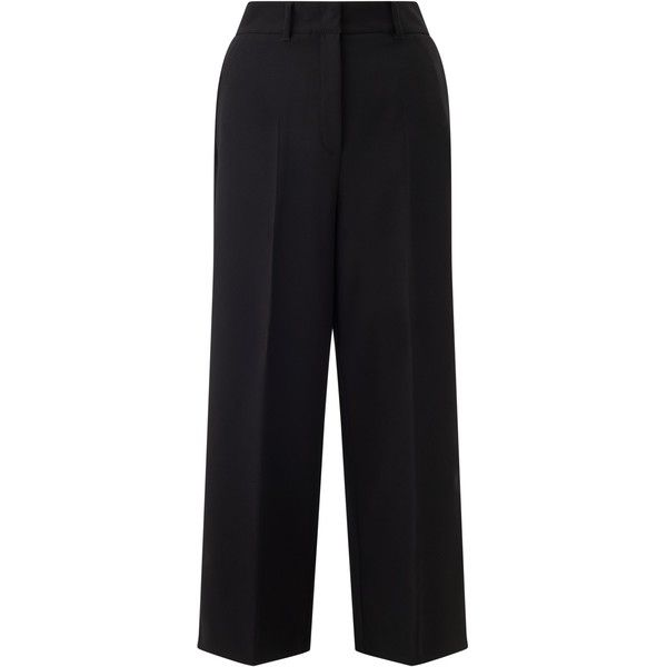 Marella Fantasy Cropped Wide Leg Trousers ($150) ❤ liked on Polyvore featuring pants, capris, floral printed pants, wide leg cropped trousers, cropped pants, creased pants and wide leg cropped pants