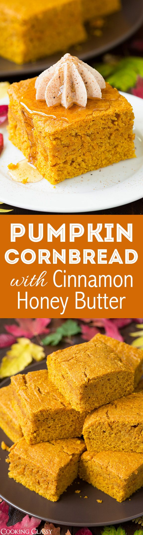 Pumpkin Cornbread with Cinnamon Honey Butter - this is the ULTIMATE fall…