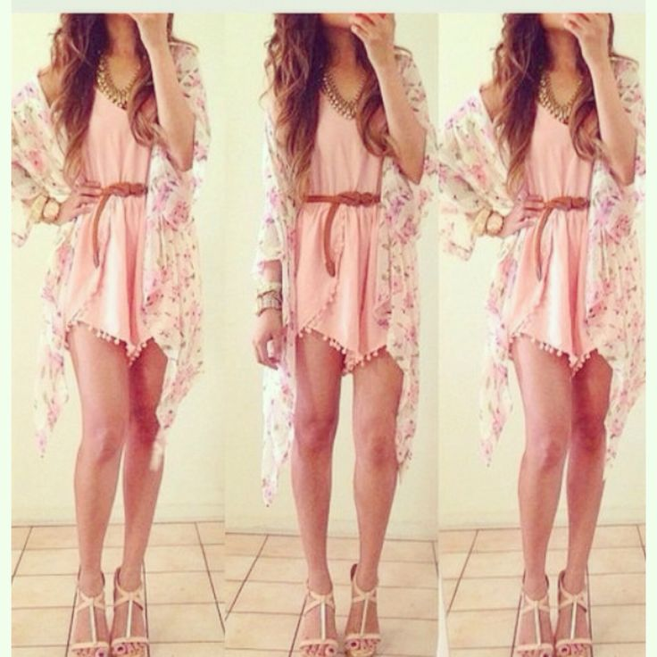 pretty, light pink outfit; white kimono cardigan with a pink dress