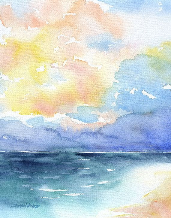 Seascape Watercolor Painting  11 x 14  Giclee by SusanWindsor, $24.00