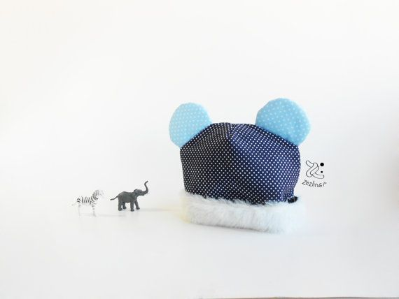 Baby Modern Beenie  Baby hat with ears   winter hat  by Zezling