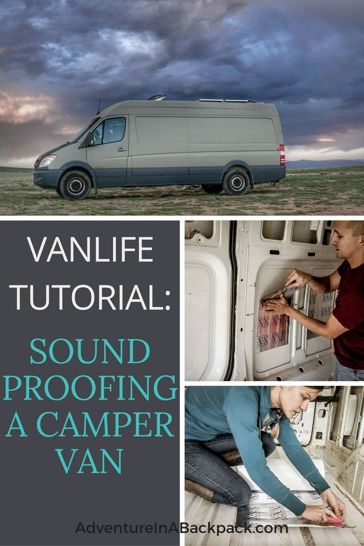 Sound Proofing our DIY Camper Van decreased the road noise and rattling of the van. This tutorial shows you how to sound proof a campervan using Rattle Trap sound dampener. Van Life | Campervan | DIY Camper van | Mercedes Sprinter Van | Sprinter Conversion