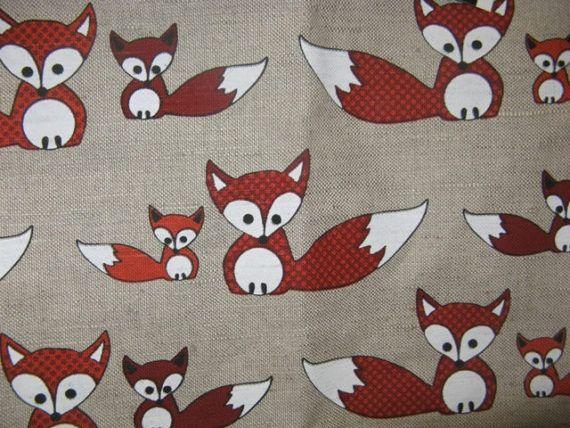 Lin Rideau panneau naturel blanc orange renards animaux Kids Room Decor Cafe Rideau cuisine valance, chemin, serviettes disponibles, grand cadeau