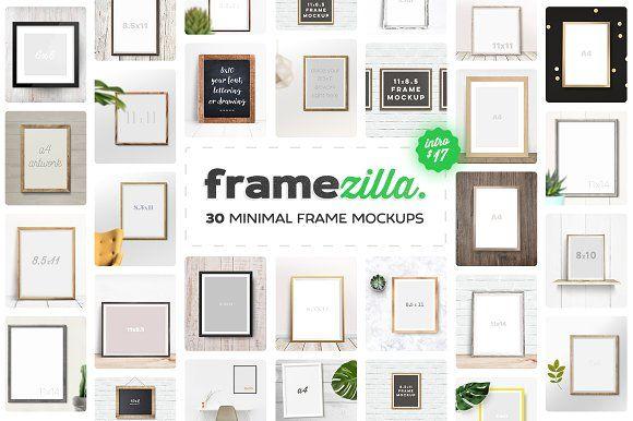 Framezilla. 30 Minimal Frame Mockups by Frisk Shop on @creativemarket