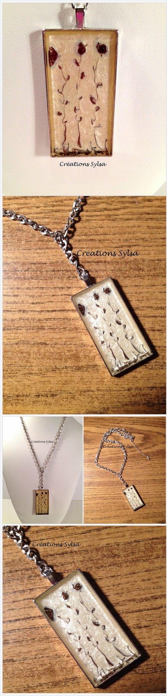 Cream Necklace, Brown necklace, rectangular pendant, brown flowers hand paint pendant, cream pendant, resinated pendant, nickel free (C430)