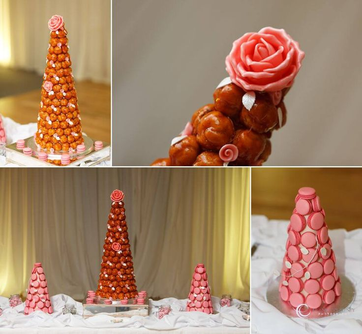 """Wedding """"Cake"""" - a very French Croquembouce and two macaron towers"""
