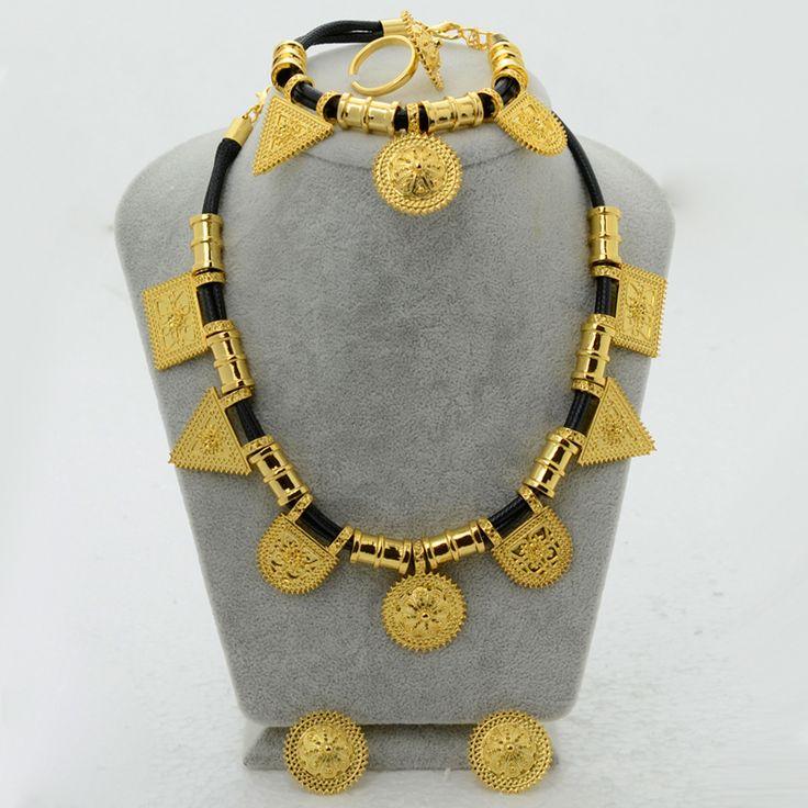 Groothandel Eritrea Habesha Ethiopische set Sieraden Ketting Armband Oorbel Ring Sieraden Vergulde Afrika Bruiloft Vrouwen #054906