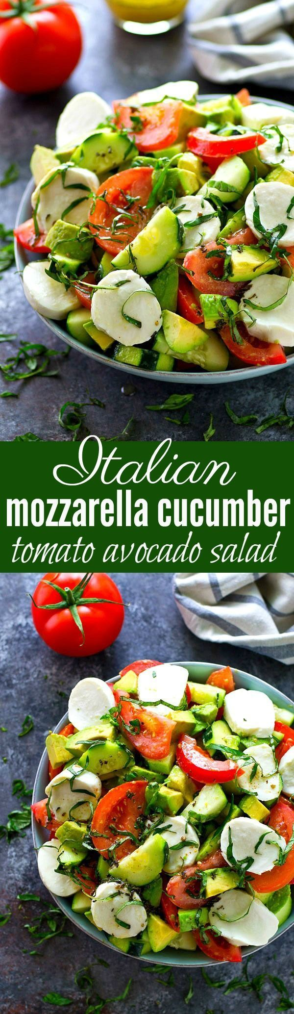 This Italian-style tomato avocado salad is loaded with tons of fresh tomatoes, avocados, cucumbers, and soft mozzarella cheese for one killer summer salad! (baked pasta recipes vegetarian)