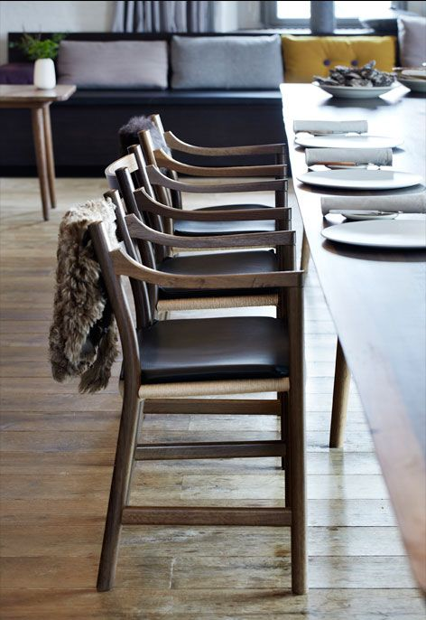 RESTAURANT NOMA, Copenhagen, Denmark. Pieces: The CH46 chair designed by Hans J. Wegner #carlhansenandson