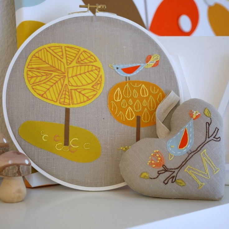 ~ Beautiful handcraft ~Tutorial : Appliqued and Embroidered Hoop Art by  Rachel