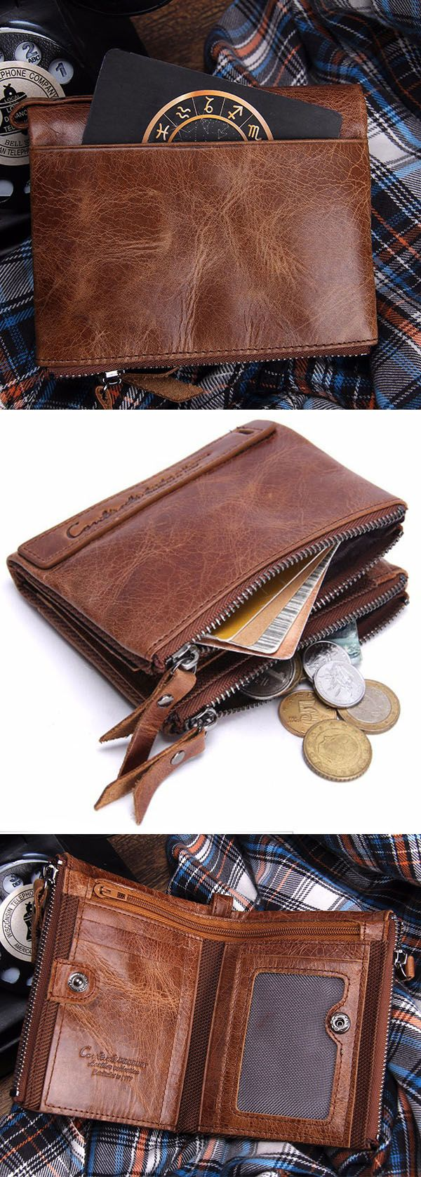 US$19.99 Only Now+Free shipping. Men Genuine Leather Wallet, Retro Genuine Leather Wallet, Credit Card Holder Coins Bag