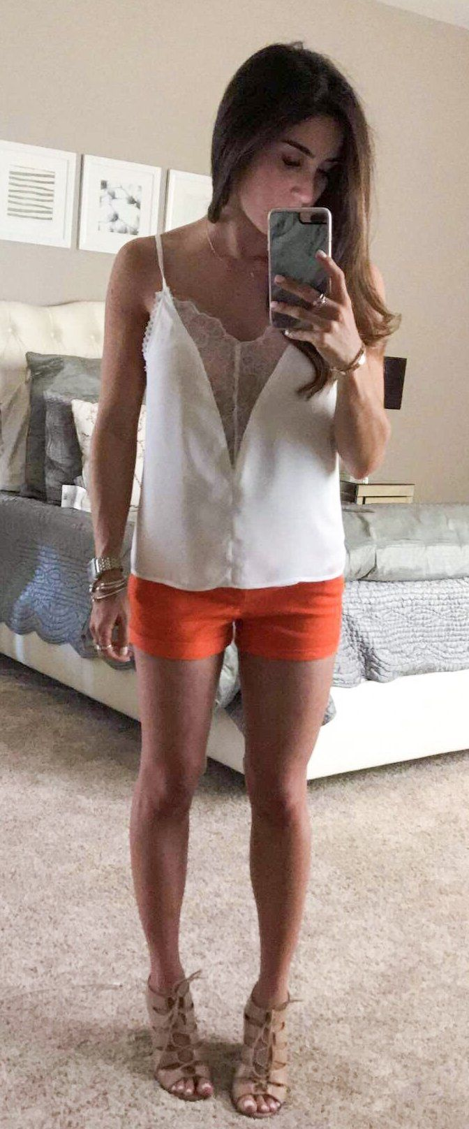 #spring #fashion  White Blouse & Red Mini Short & Nude Sandals