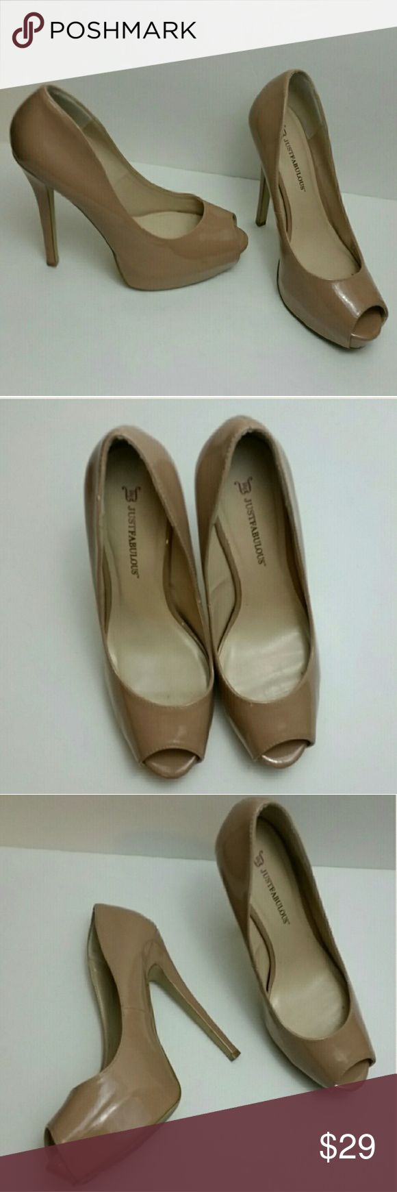 Just Fab Peep Toe Pumps Just Fab nude color peep toe patent leather pumps size 9 Excellent used condition, minimal wear on soles Shoes Heels