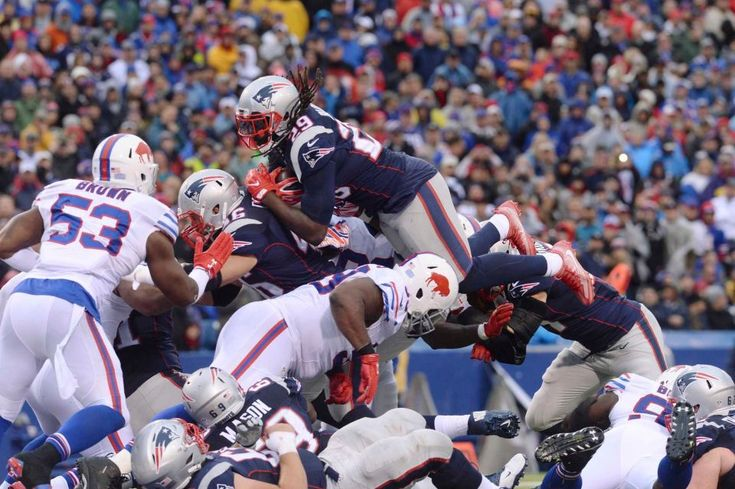 Patriots vs. Bills:  October 30, 2016  -  41-25, Patriots  -    New England Patriots' LeGarrette Blount (29) dives for a touchdown during the second half of an NFL football game Sunday, Oct. 30, 2016, in Orchard Park, N.Y.