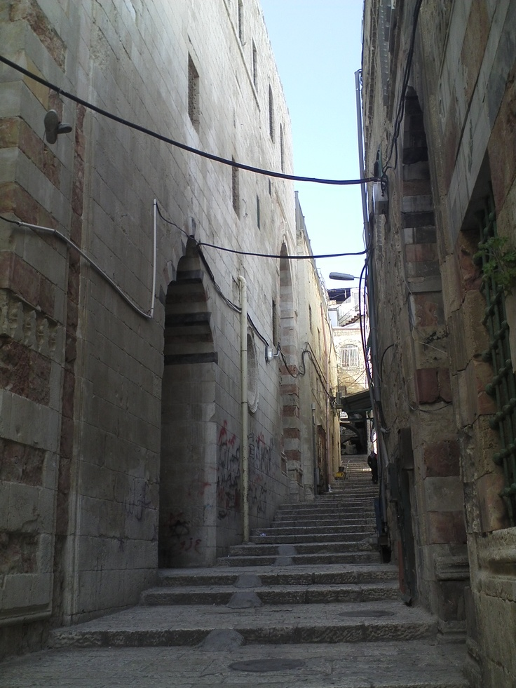 Aqabat at-Takiya, a passage in the old city of Jerusalem, where the opening scene from The Jerusalem Puzzle is set. Click the image twice for a post about editing The Jerusalem Puzzle.