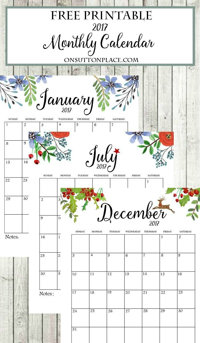 2017 Free Printable Monthly Calendar   Includes free year at a glance, individual months, weekly planner, weekly meal planner & an inspirational printable.