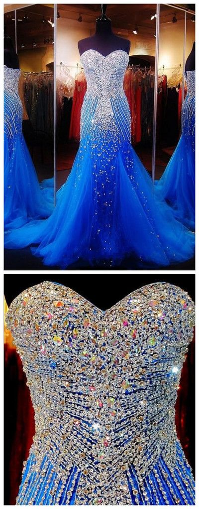 Royal Blue Prom Dresses Royal Blue Prom Dress,Silver Beaded Formal Gown,Mermaid Beadings Prom Dresses Evening Gowns