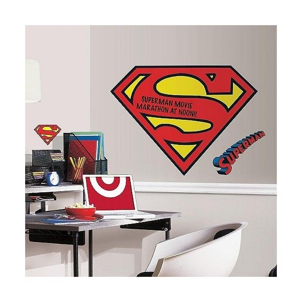 RoomMates Superman Logo Dry Erase Peel And Stick Giant Wall Decals,... (
