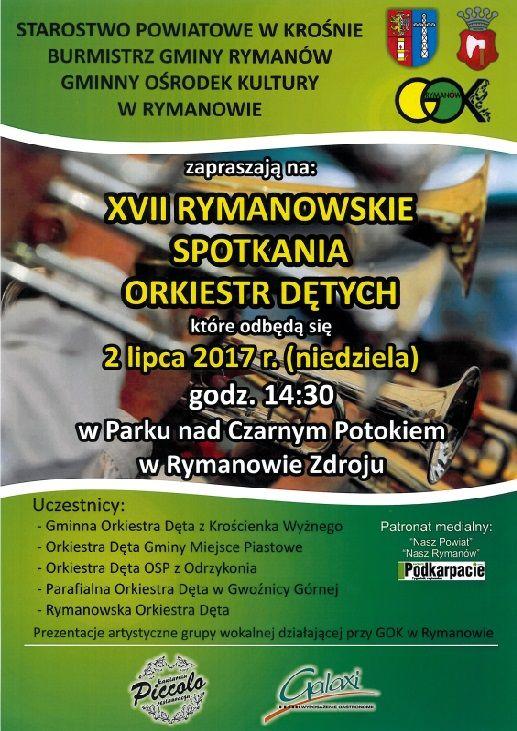 2 lipca 2017 r. (niedziela) w Parku nad Czarnym Potokiem w Rymanowie-Zdroju odbędą się już po raz XVII Rymanowskie Spotkania Orkiestr Dętych. Koncert rozpocznie się o godz. 14:30.
