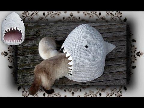 DIY  Hai Häkel Höhle für Katzen | crochet shark for cats - YouTube