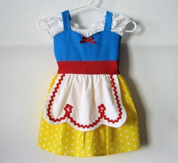 SNOW WHITE dress Disney princess inspired APRON dress toddlers baby and girls princess costume
