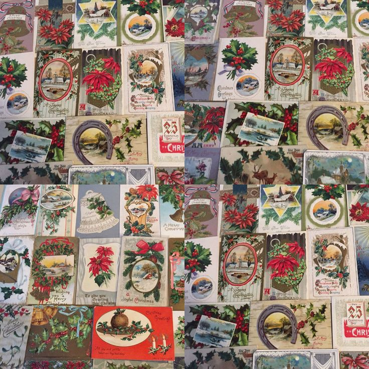 Nice Huge Antique Lot of 75 Vintage  Christmas Holiday Postcards-In Sleeves-m85 #Christmas