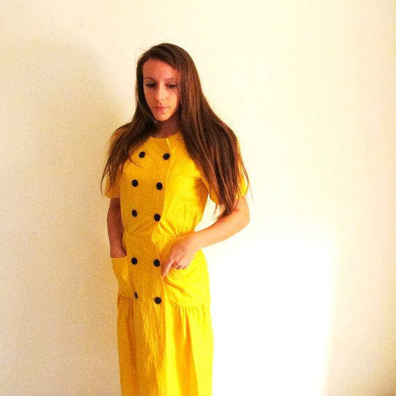 Yellow Dress Cotton Frock Mustard Yellow by StraylightVintage, $36.00