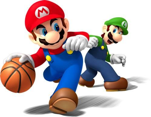 Mario dribbles past a defiant looking Luigi during a basketball game from the official artwork set for #MarioSportsMix on #Wii. #Mario #Sports Visit for more info http://www.superluigibros.com/mario-sports-mix