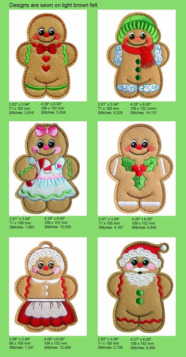 Sew in The Hoop Gingerbread Machine Embroidery Designs | eBay