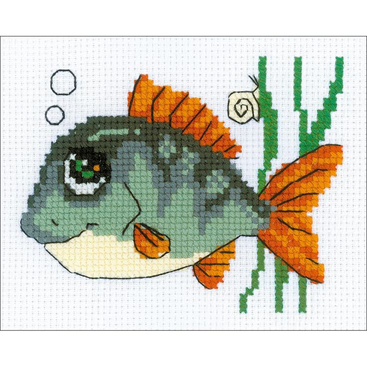 """Smiling Fish Counted Cross Stitch Kit - 6.25"""" x 5"""" 10 Count"""
