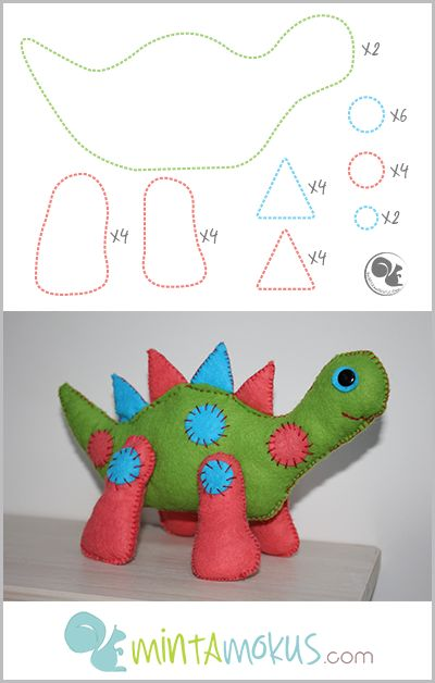 Lovely felt dinosaur with free pattern. See full project here: http://mintamokus.com/kezzel-varrott-puha-dino-gyapjufilcbol/