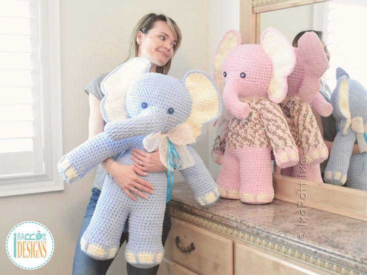 Crochet PDF pattern by IraRott for making a big elephant amigurumi stuffed toy using Bernat Blanket yarn
