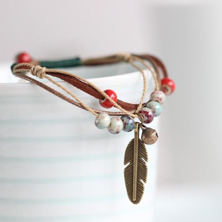 Glaze Ceramic Beaded Bracelet | Handmade Ceramic Bracelet | iiTrrends Boho Style Bracelet