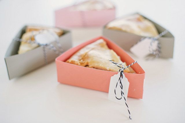 These handy pastel boxes make the perfect wrapping for a portable piece of pie.