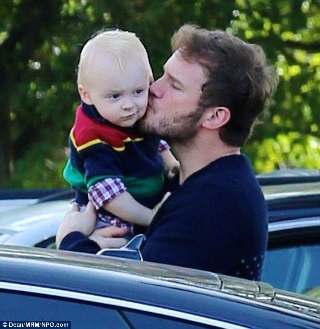 Doting dad: Chris Pratt showed his love for he and wife Anna Faris' two-year-old son Jack on a family lunch outing in Los Angeles on Sunday