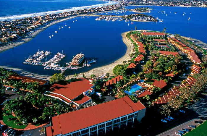 The secluded 14-acre peninsula in Mission Beach, home to the Bahia Resort