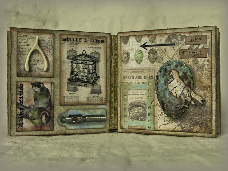 "Tim Holtz: Tags of 2014 - May, turned into mini book ""Tim's May Tag - Field Notes"""