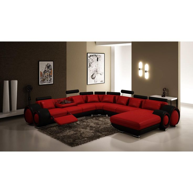 divani casa red and black sectional sofa