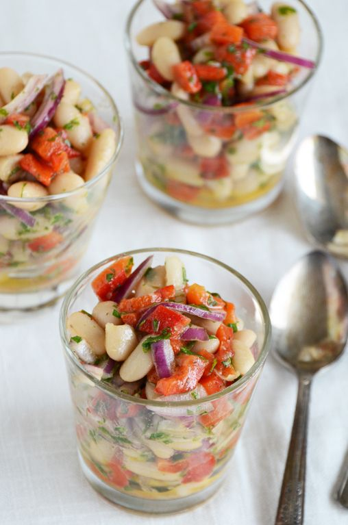 White Bean and Roasted Red Pepper Salad.  Sounds tasty and healthy  :)