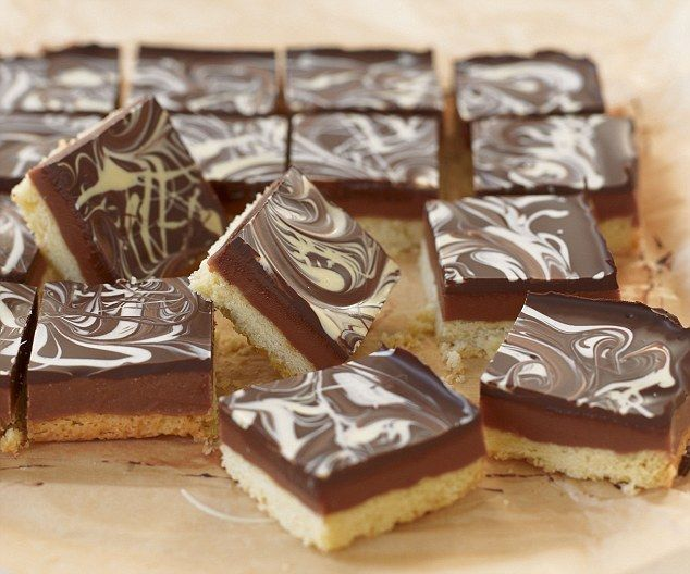 These indulgent squares have a buttery shortbread base, topped with luscious, slightly salted caramel and dark chocolate