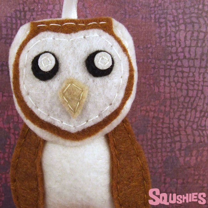 Harriett the Barn Owl - Felt Bird - Handmade Tree Ornament