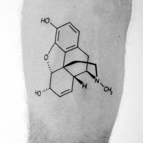 Chemistry Male Minimalist Leg Tattoo