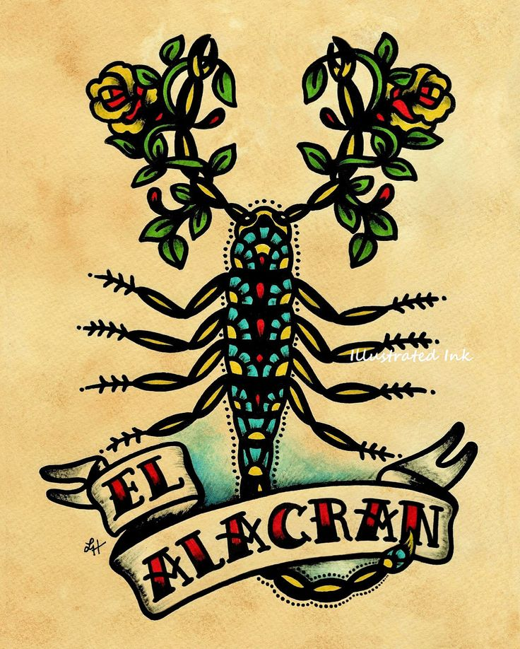 Old School Tattoo Art Scorpion EL ALACRAN Loteria Print 5 x 7. $10.50, via Etsy.