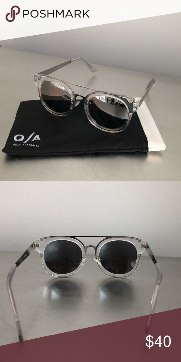 Quay sunglasses Clear and silver quay sunglasses. Super fun and cute! I️ purchased from ASOS. Quay is a trendy Australian sunglasses brand. Let me know if you have any questions! Quay Australia Accessories Sunglasses