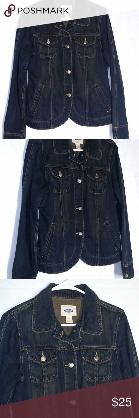 "Old Navy Jean Jacket Size M Rounded Hem Old Navy Medium Jean Jacket Rounded Hem Cotton Blue Denim Button Front Pockets Gently used condition  Unlined and buttons all the way down the front Machine wash cold & tumble dry Approx bust 39"" and length from top of shoulder to hem 22"" 4 pockets on the front 100% cotton Old Navy Jackets & Coats Jean Jackets"