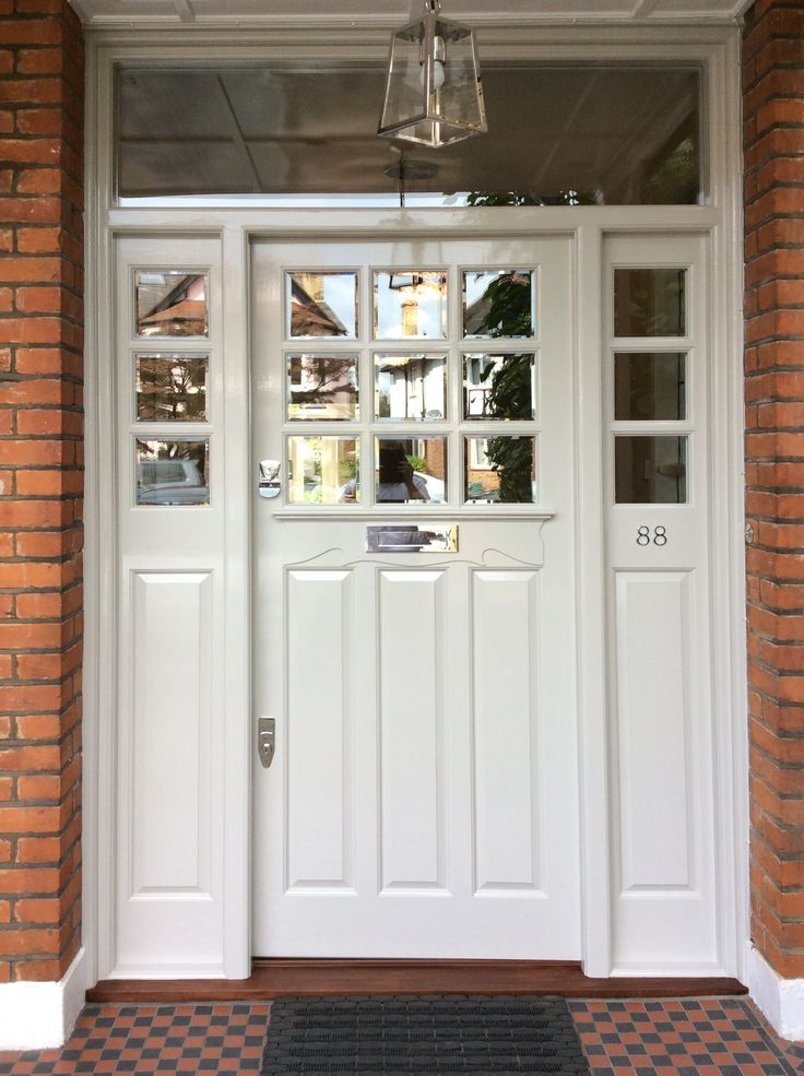 Lovely Edwardian front door with beveled edge glass.