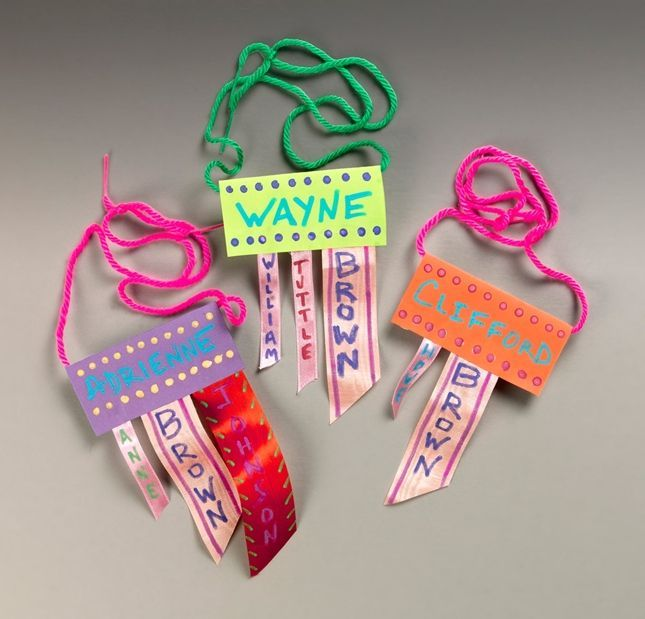 Pinterest Crafts for Family Reunion | Family Reunion Name Tags Craft. Could use for daycamps                                                                                                                                                      More